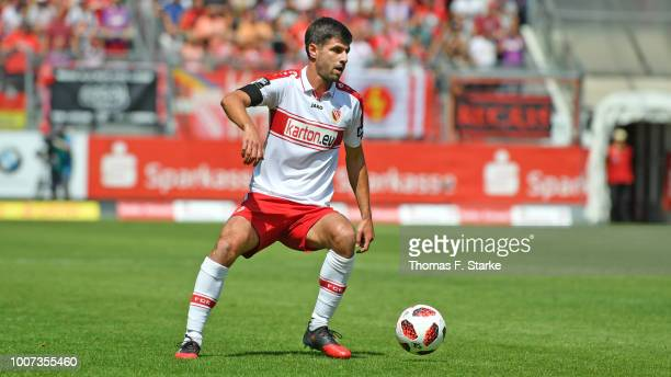 Tim Kruse of Cottbus runs with the ball during the 3. Liga match between FC Energie Cottbus and F.C. Hansa Rostock at Stadion der Freundschaft on...