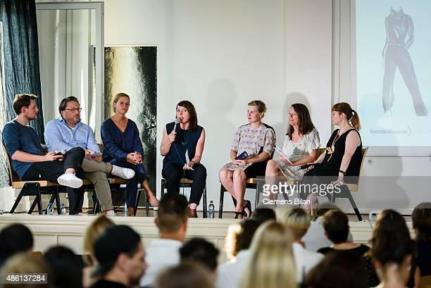 Tim Labenda Stefan Wenzel Jutta Ohms Margit Kling Edda Mann Silvia Kadolsky and Susan Stone attend the 'Round Table brands4friends X Tim Labenda' on...