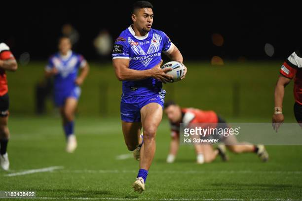 Tim Lafai of Samoa runs through to score a try during the Rugby League match between the Canterbury Bulls and Toa Samoa on October 25 2019 in...