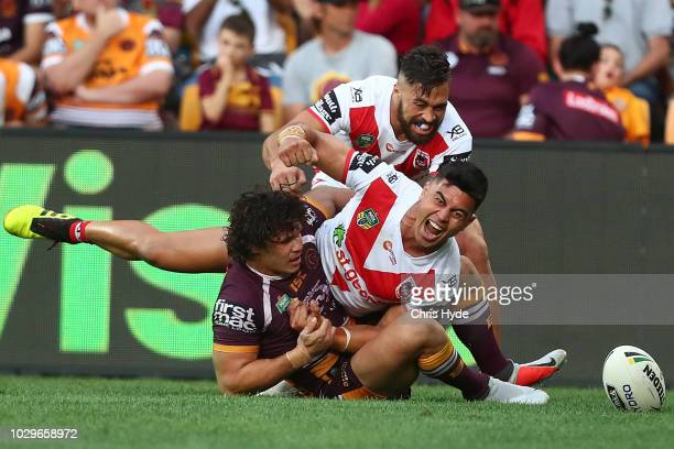 Tim Lafai of the Dragons celebrates a try during the NRL Elimination Final match between the Brisbane Broncos and the St George Illawarra Dragons at...