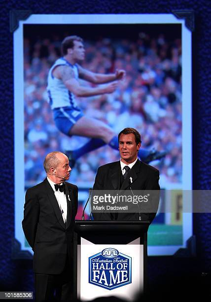Tim Lane interviews Wayne Carey after he was made an inductee of the AFL Hall of Fame at the 2010 Australian Football Hall of Fame induction dinner...