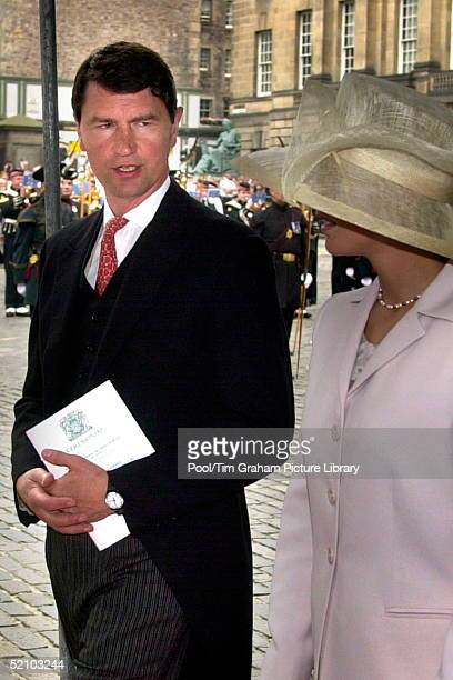 Tim Laurence And Zara Phillips Arriving At St Giles Cathedral In Edinburgh Where Princess Anne Was Installed As A Royal Lady And Knight Of The Order...
