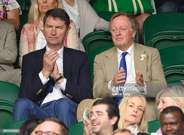 Tim Lawrence and Andrew Parker Bowles attend day nine of the Wimbledon Tennis Championships at Wimbledon on July 8 2015 in London England