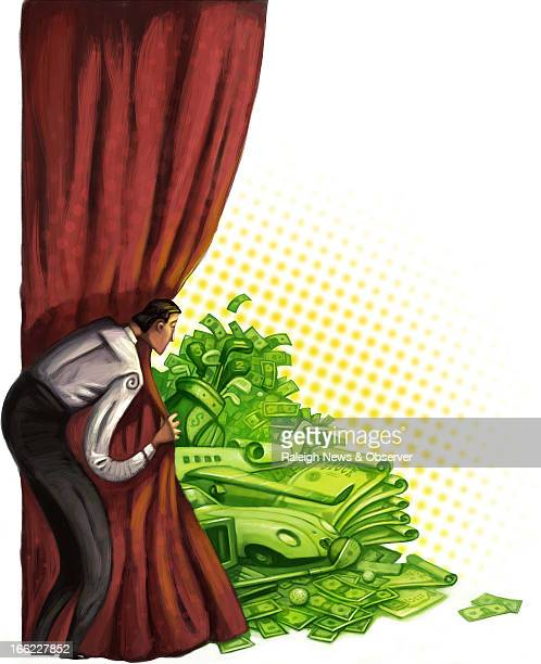 Tim Lee color illustration of businessman pulling back red curtain to reveal CEOstyle loot piles of cash cars jets and stocks The News Observer /MCT...