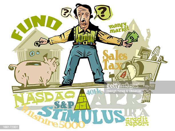 Tim Lee color illustration of man bewildered by financial terms NASDAQ SP Wilshire 5000 etc The News Observer /MCT via Getty Images