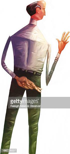 Tim Lee color illustration of man with fingers crossed behind his back The News Observer /MCT via Getty Images