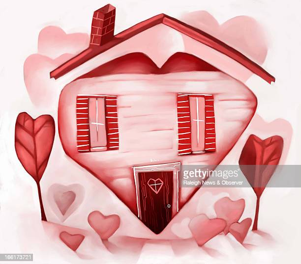 Tim Lee color illustration of pink heartshaped home wth red heartshaped trees in yard The News Observer /MCT via Getty Images