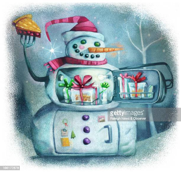 Tim Lee illustration of a snowman that looks like a refrigerator with presents inside can be used with stories about frozen foods making a great...