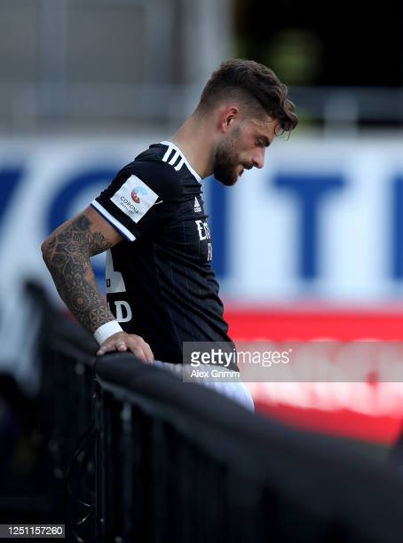 Tim Leibold of Hamburg reacts after the Second Bundesliga match between 1. FC Heidenheim 1846 and Hamburger SV at Voith-Arena on June 21, 2020 in...