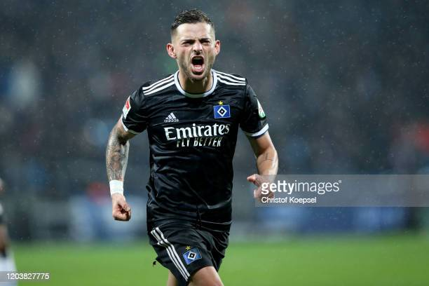 Tim Leipold of Hamburg celebrates the first goal during the Second Bundesliga match between VfL Bochum 1848 and Hamburger SV at Vonovia Ruhrstadion...