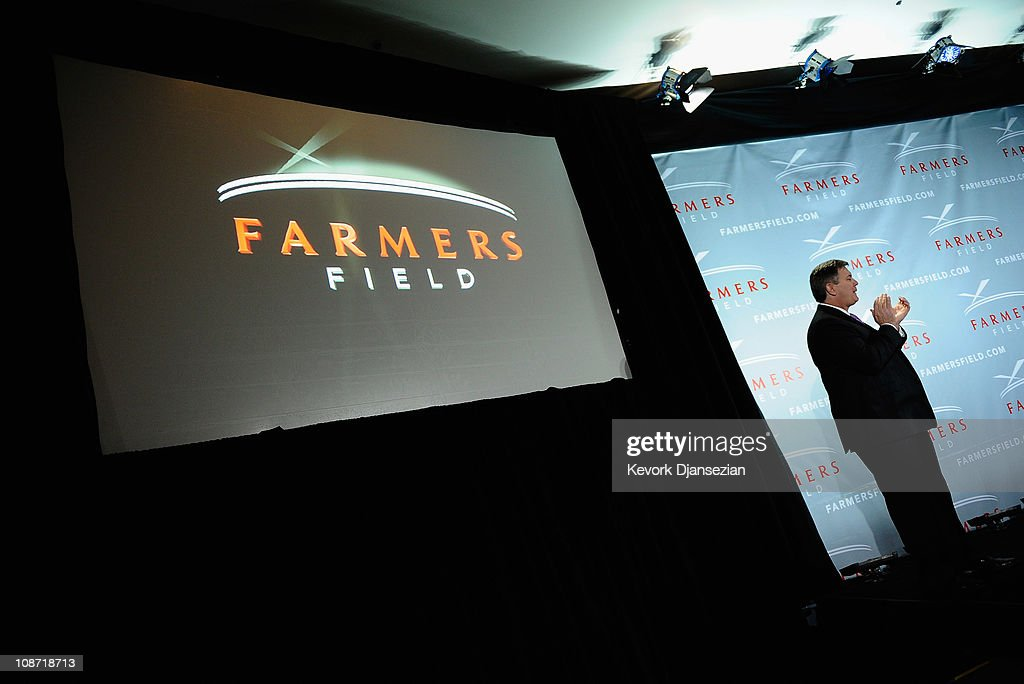 Tim Leiweke, President and CEO of AEG during an event announcing naming rights for the new football stadium Farmers Field at Los Angeles Convention Center on February 1, 2011 in Los Angeles, California. AEG has reportedly sold the naming rights for the proposed stadium to Farmers Insurance Exchange for $650,000, calling the stadium 'Farmers Field.'