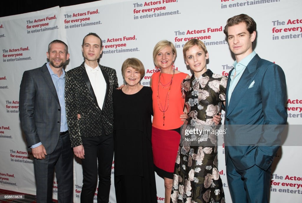 Tim Levy, Jordan Roth, Susan Brown, Marianne Elliot, Denise Gough and Andrew Garfield attend The Actors Fund 2018 Gala at Marriott Marquis Times Square on May 14, 2018 in New York City.