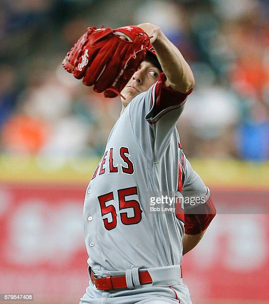 Tim Lincecum of the Los Angeles Angels of Anaheim pitches in the first inning against the Houston Astros at Minute Maid Park on July 24 2016 in...