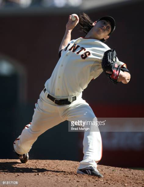 Tim Lincecum of the San Francisco Giants pitches against the Arizona Diamondbacks during the game at ATT Park on October 1 2009 in San Francisco...