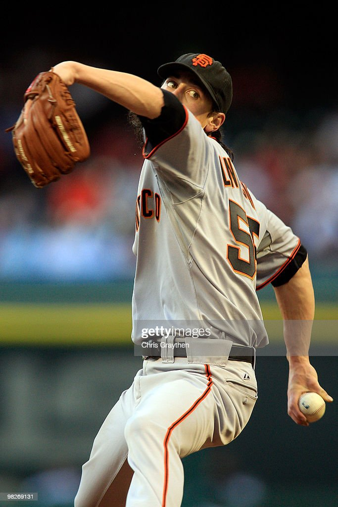 Tim Lincecum #55 of the San Francisco Giants pitches against the Houston Astros on Opening Day at Minute Maid Park on April 5, 2010 in Houston, Texas. The Giants defeated the Astros 5-2.