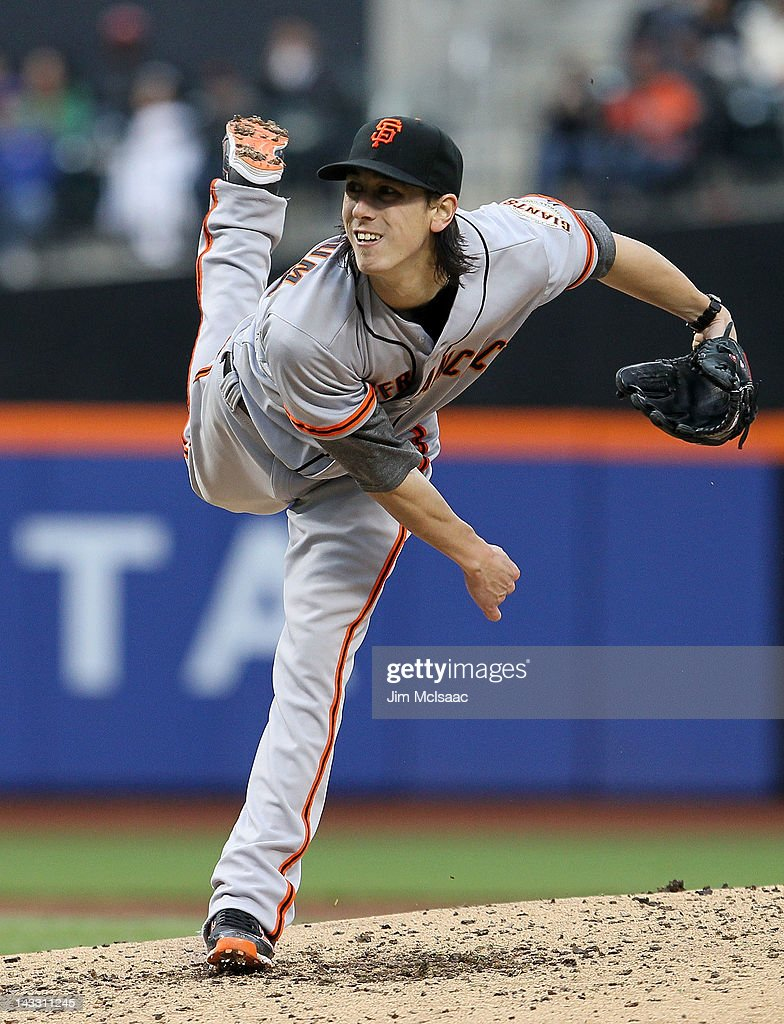 Tim Lincecum #55 of the San Francisco Giants pitches against the New York Mets at Citi Field on April 23, 2012 in the Flushing neighborhood of the Queens borough of New York City.