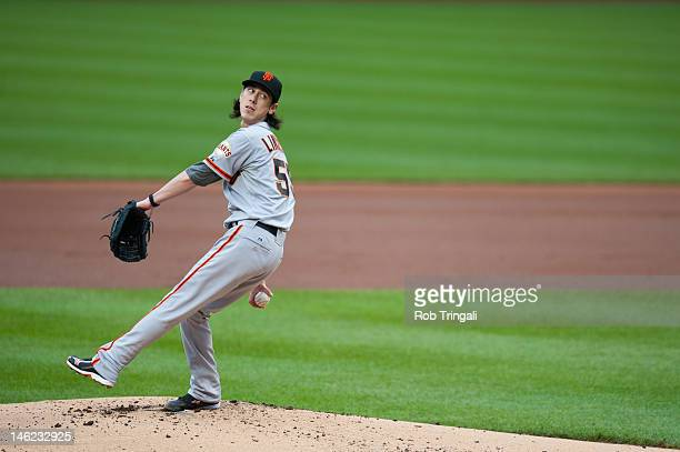 Tim Lincecum of the San Francisco Giants pitches during the game against the New York Mets at Citi Field on April 23 2012 in the Queens borough of...