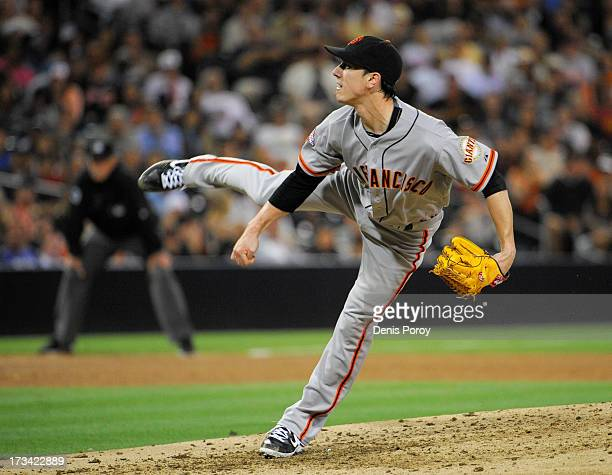 Tim Lincecum of the San Francisco Giants pitches during the sixth inning of a baseball game against the San Diego Padres at Petco Park on July 13...