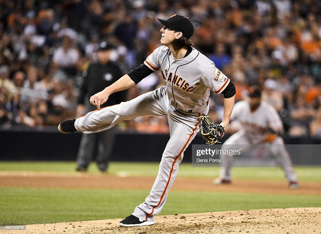 Tim Lincecum #55 of the San Francisco Giants pitches during the sixth inning of a baseball game against the San Diego Padres at Petco Park September, 19, 2014 in San Diego, California.