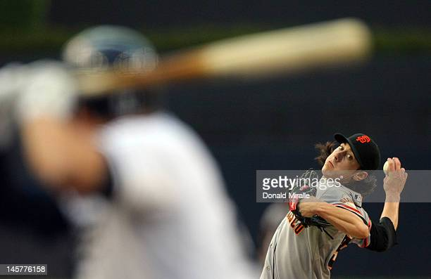 Tim Lincecum of the San Francisco Giants throws from the mound against the San Diego Padres during their MLB Baseball Game on June 5, 2012 at Petco...