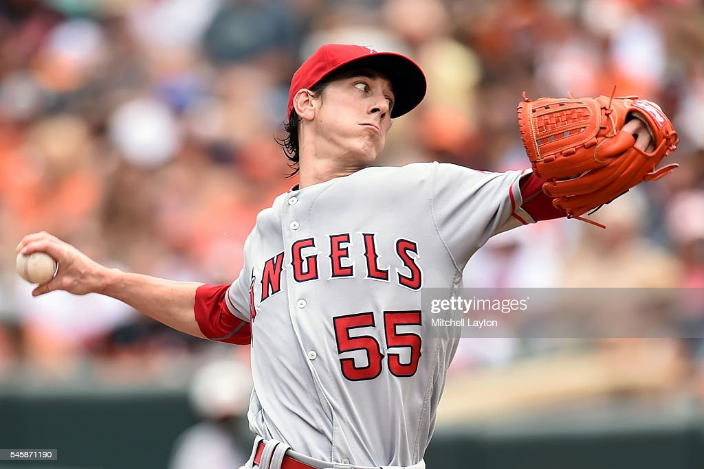 Tim Linecum #55 of the Los Angeles Angels of Anaheim pitches in the first inning during a baseball game against the Baltimore Orioles at Oriole Park at Camden Yards on July 10, 2016 in Baltimore, Maryland.