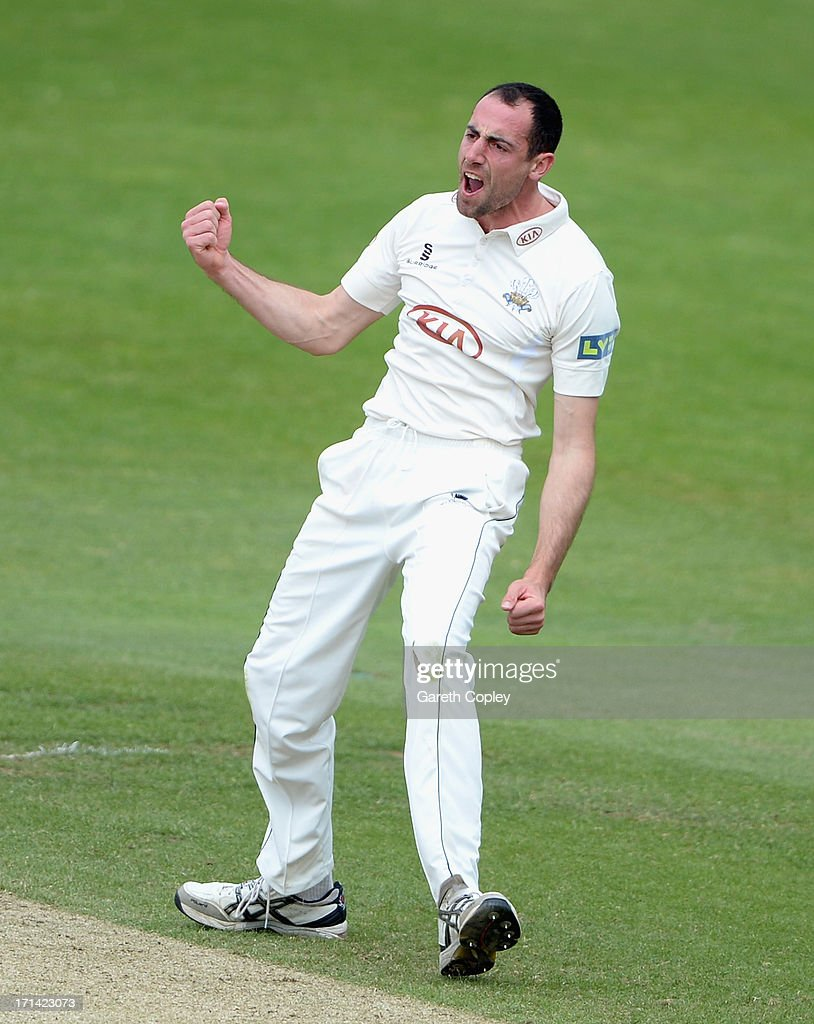 Tim Linley of Surrey celebrates dismissing Andy Hodd of Yorkshire during day four of the LV County Championship Division One match between Yorkshire and Surrey at Headingley on June 24, 2013 in Leeds, England.