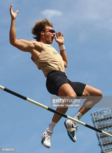 Tim Lobinger of Germany competes during the Men Pole Vault Final on day one of the German National Athletics Championships at the easyCredit stadium...
