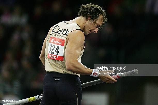 Tim Lobinger of Germany competes in the pole vault during the Sparkassen Cup 2008 at the Hanns-Martin Schleyer Hall on February 2, 2008 in Stuttgart,...