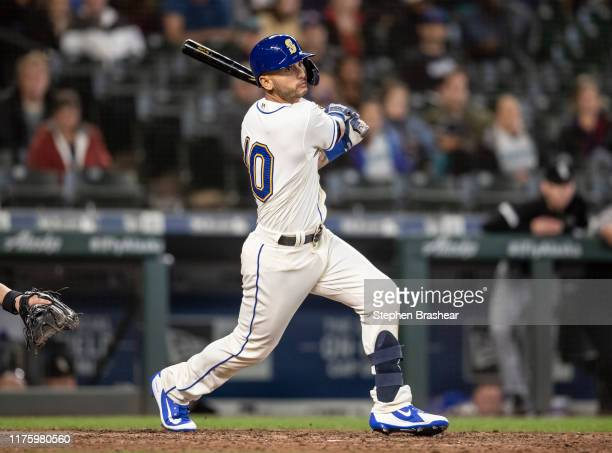 Tim Lopes of the Seattle Mariners takes a swing during an at-bat in a game against the Chicago White Sox at T-Mobile Park on September 15, 2019 in...