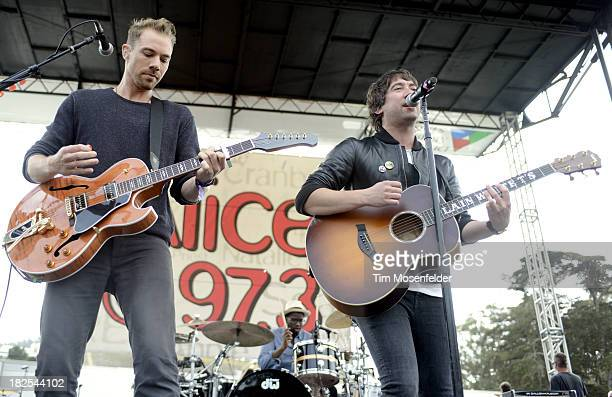 Tim Lopez and Tom Higgenson of Plain White T's perform as part of 973 Alice Now and Zen in Sharon Meadow in Golden Gate Park on September 29 2013 in...