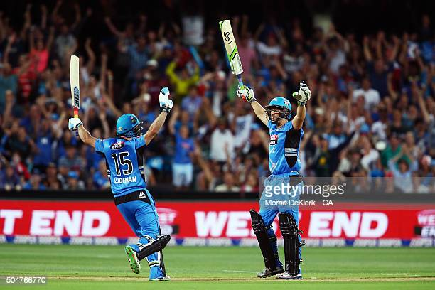 Tim Ludeman and Jake Lehmann of the Adelaide Strikers celebrate after Lehmann hit the winning runs during the Big Bash League match between the...