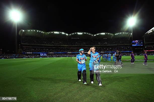Tim Ludeman and Jake Lehmann of the Adelaide Strikers come from the fiels after Lehmann hit the winning runs during the Big Bash League match between...