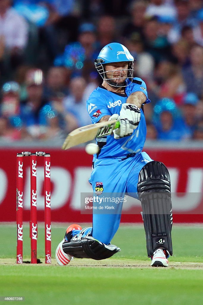 Tim Ludeman of the Adelaide Strikers bats during the Big Bash League match between the Adelaide Strikers and the Hobart Hurricanes at Adelaide Oval on December 31, 2014 in Adelaide, Australia.