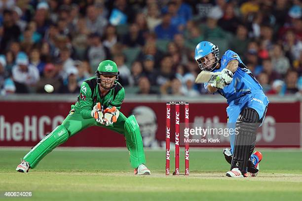 Tim Ludeman of the Adelaide Strikers bats in front of Tom Triffitt of the Melbourne Stars during the Big Bash League match between the Adelaide...
