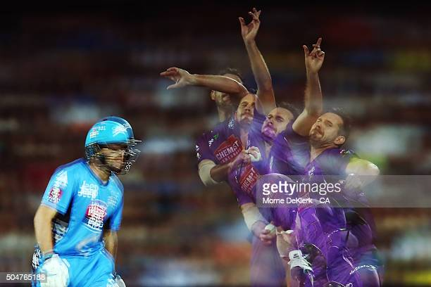 Tim Ludeman of the Adelaide Strikers looks on as Shaun Tait of the Hobart Hurricanes bowls during the Big Bash League match between the Adelaide...