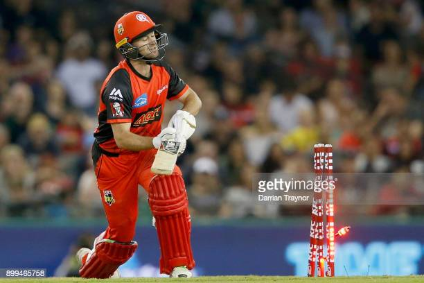 Tim Ludeman of the Melbourne Renegade is bowled by Andrew Tye of the Perth Scorchers during the Big Bash League match between the Melbourne Renegades...