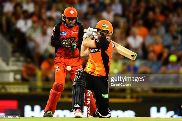 Tim Ludeman of the Melbourne Renegades collects the ball after a missed swing by David Willey of the Perth Scorchers during the Big Bash League match...