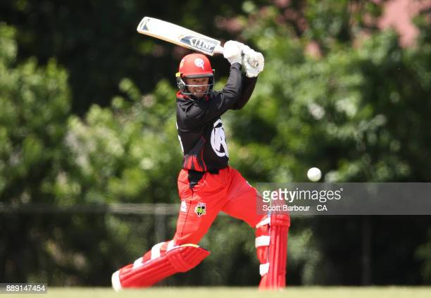 Tim Ludeman of the Renegades bats during the practice match during the Melbourne Renegades BBL fan day at Geelong Cricket Ground on December 10 2017...