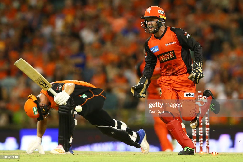 Tim Ludeman of the Renegades celebrates the stumping of Hilton Cartwright of the Scorchers during the Big Bash League match between the Perth Scorchers and the Melbourne Renegades at WACA on January 8, 2018 in Perth, Australia.