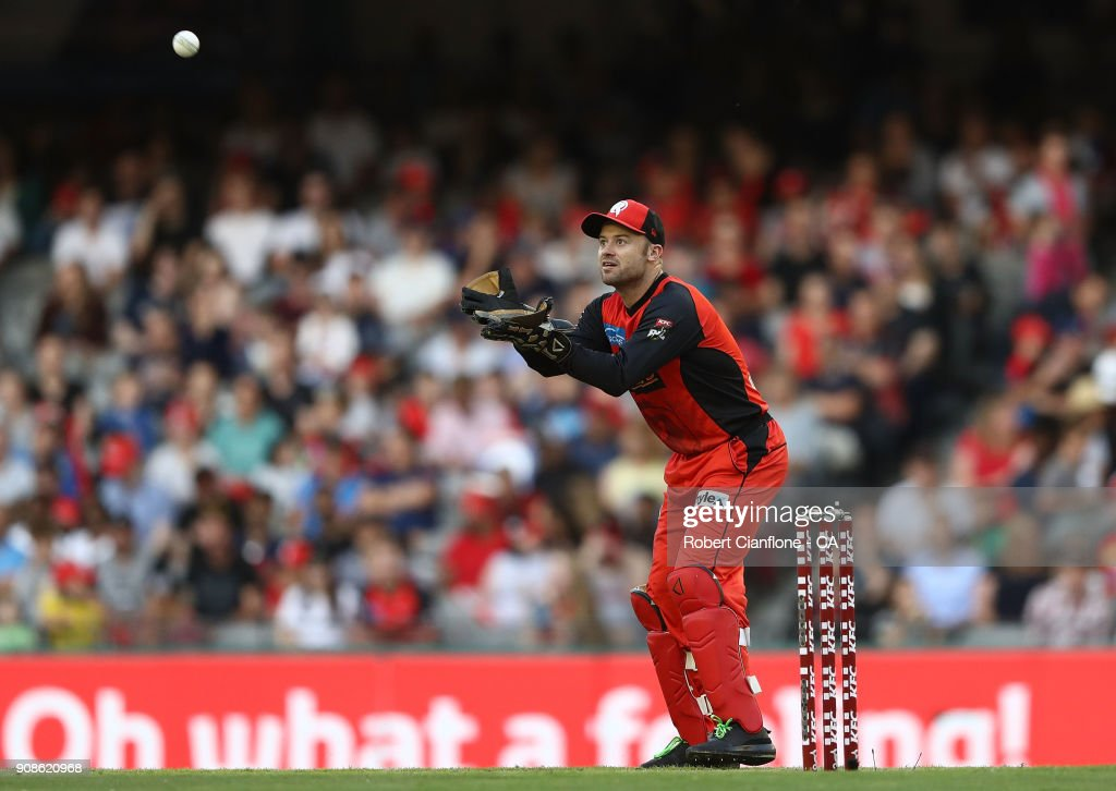 Tim Ludeman of the Renegades takes the ball during the Big Bash League match between the Melbourne Renegades and the Adelaide Strikers at Etihad Stadium on January 22, 2018 in Melbourne, Australia.