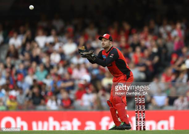 Tim Ludeman of the Renegades takes the ball during the Big Bash League match between the Melbourne Renegades and the Adelaide Strikers at Etihad...