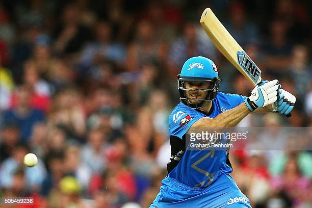 Tim Ludeman of the Strikers bats during the Big Bash League match between the Melbourne Renegades and the Adelaide Strikers at Etihad Stadium on...
