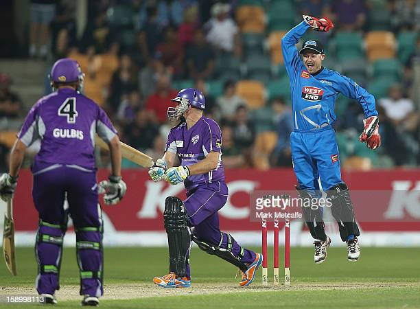 Tim Ludeman of the Strikers celebrates the wicket of Scott Styris of the Hurricanes during the Big Bash League match between the Hobart Hurricanes...