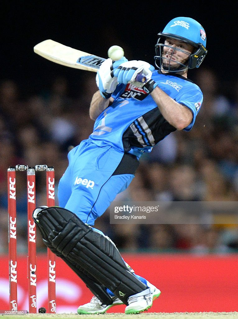 Tim Ludeman of the Strikers plays a shot during the Big Bash League match between the Brisbane Heat and the Adelaide Strikers at The Gabba on January 8, 2016 in Brisbane, Australia.