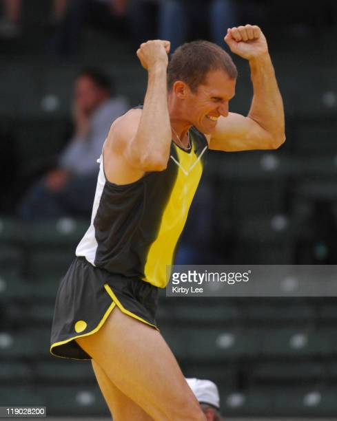 Tim Mack celebrates a clearance in the pole vault in the Road To Eugene '08 track field meet at the University of Oregon's Hayward Field in Eugene...