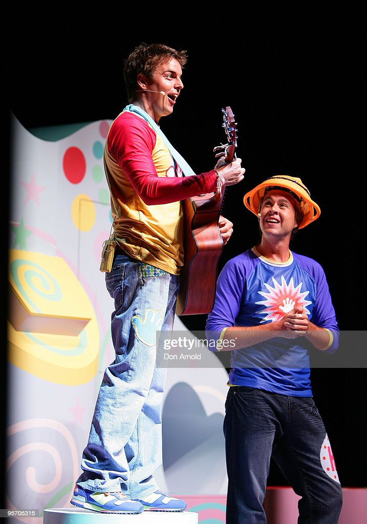 Tim Maddren and Stevie Nicholson of the new Hi-5 line-up perform a segment from their new stage show 'Hi-5 Surprise!' at the Theatre Royal on January 12, 2010 in Sydney, Australia.