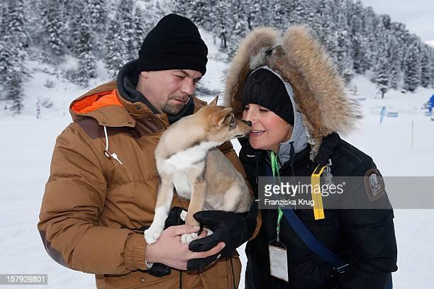 Tim Maelzer and Nina Heik attends the Tirol Cross Mountain Sledge Dog Race Training on December 07 in Kuehtai Austria