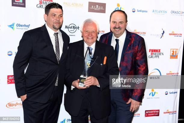 Tim Maelzer Eckart Witzigmann and Johann Lafer attend the 'Goldene Sonne 2018' Award by SonnenklarTV on April 7 2018 in Kalkar Germany