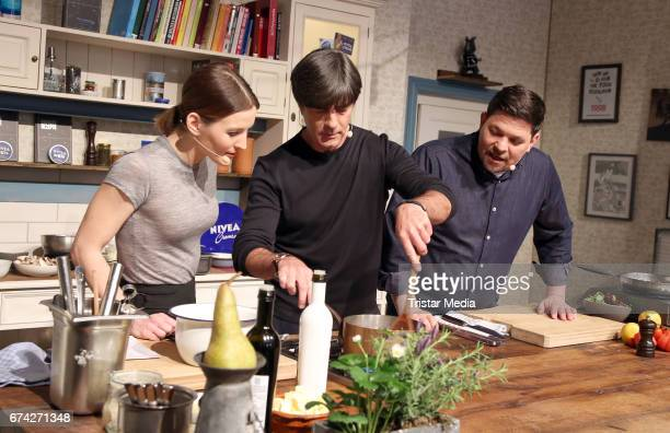Tim Maelzer Jeannine Michaelsen and Jogi Loew during the Nivea Men Photo Call at on April 27 2017 in Hamburg Germany