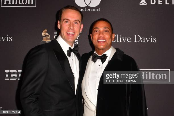 Tim Malone and US journalist Don Lemon arrive for the traditional Clive Davis party on the eve of the 61th Annual Grammy Awards at the Beverly Hilton...